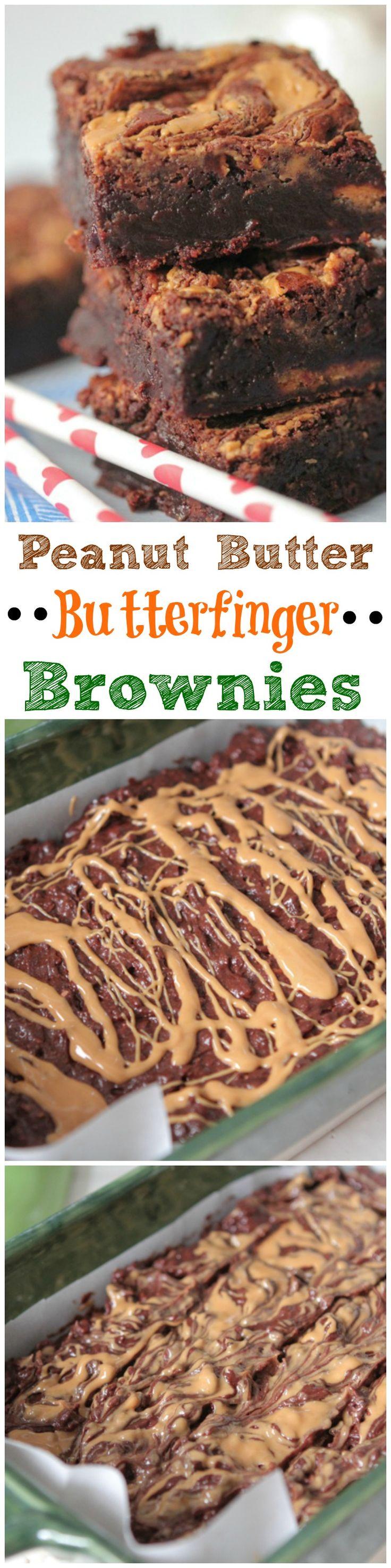 Peanut Butter Butterfinger Brownies!  #peanutbutter #brownies #recipe
