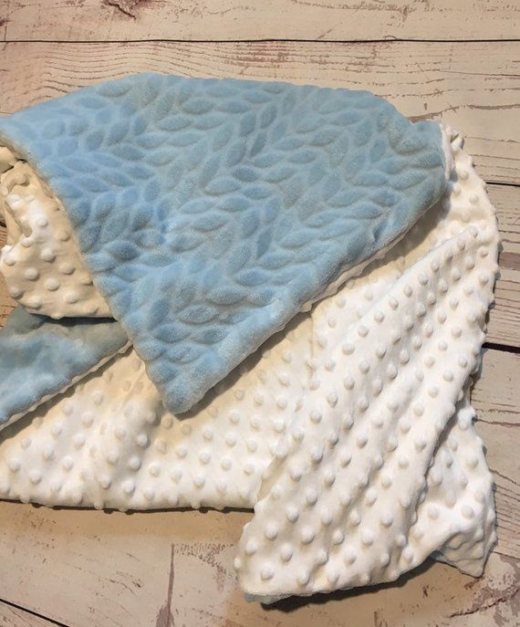 Monogrammed Baby Blue and Gray Chevron Minky Baby Blanket Personalized for Boys! FREE SHIPPPING