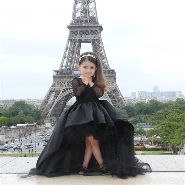 2015 Ball Gown Flower Girl Dresses With Long Sleeves Jewel Little Girls Party Dress Pageant Gowns Black Satin Tulle High Low