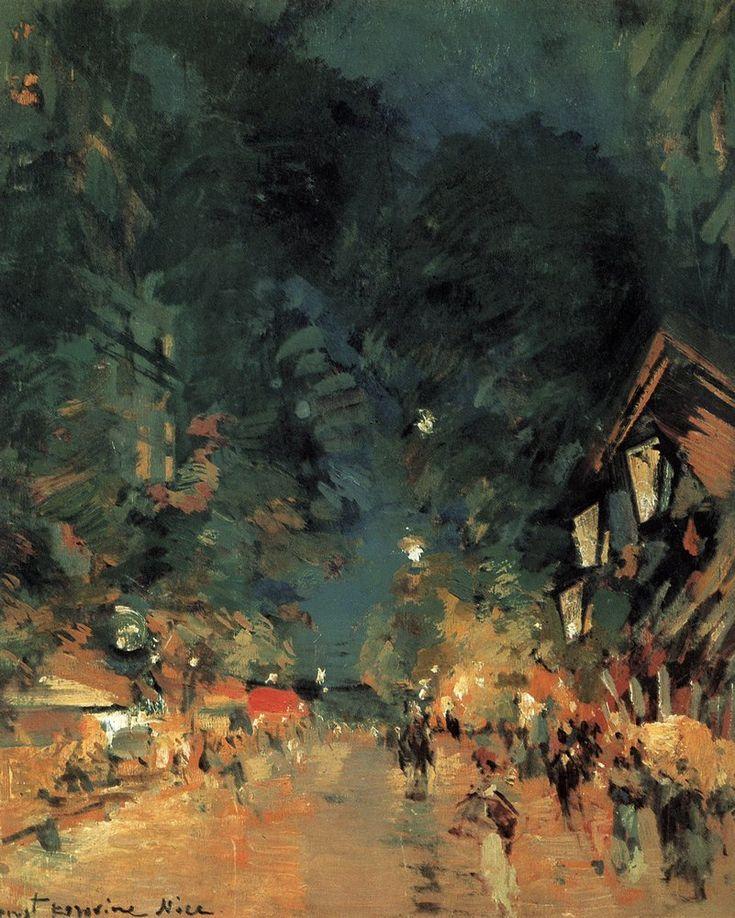 Константин Коровин. Галерея картин и рисунков художника - Ницца. Улица ночью. 1909 г.