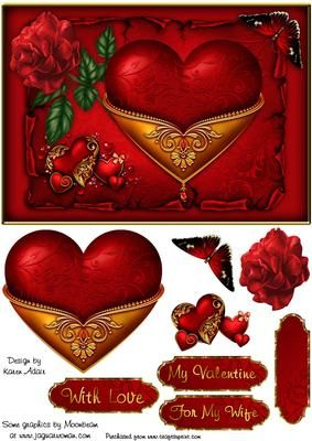 Hearts Roses in Red Valentine Card Front with Step by Step on Craftsuprint designed by Karen Adair - This is an A5 sized card front especially for Valentines Day. In luscious red, it features a beautiful gold embellished heart, a Rose and butterfly. Decoupage is included, along with four sentiment tags, one left blank so you can personalise if you wish. If you like this check out my other designs, just click on my name. - Now available for download!