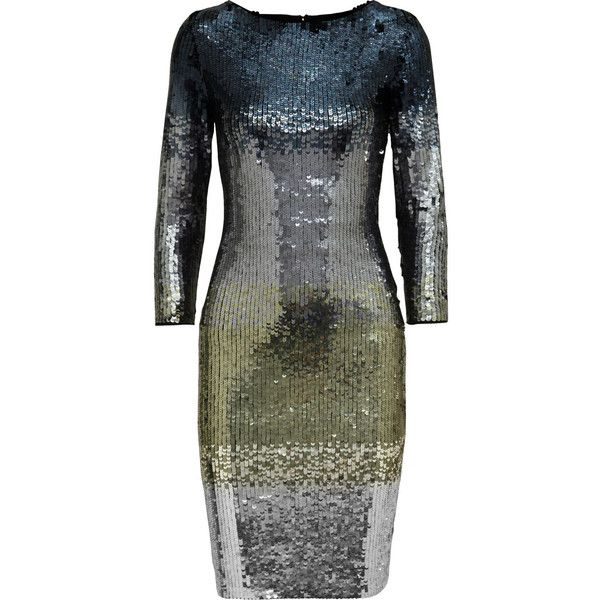 Alice + Olivia Ramsey metallic ombré sequined stretch-tulle dress (1.085 BRL) ❤ liked on Polyvore featuring dresses, blue, metallic sequin dress, sequin dress, tulle dress, blue dress and metallic blue dress