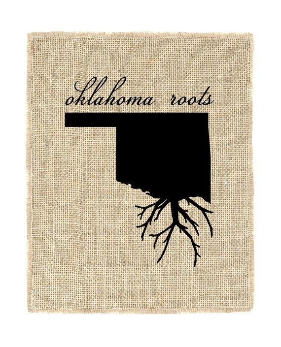 Oklahoma Roots Unframed Wall Art, Burlap Prints, Burlap Art, Custom state roots…