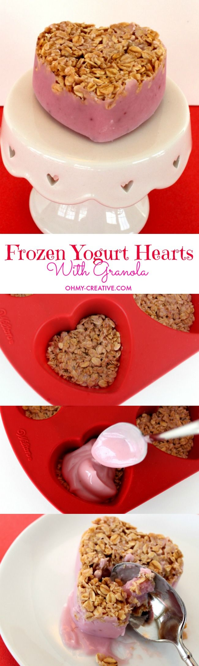 Make these Frozen Yogurt Hearts With Granola to warm the hearts of the ones you love | OHMY-CREATIVE.COM