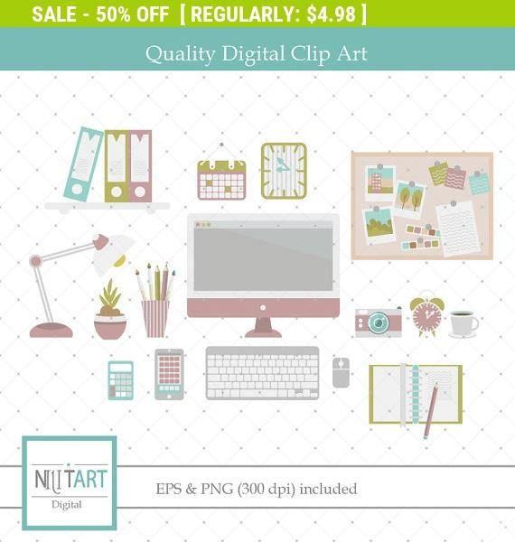 50% Off Sale Office clipart Desk clipart vector graphics