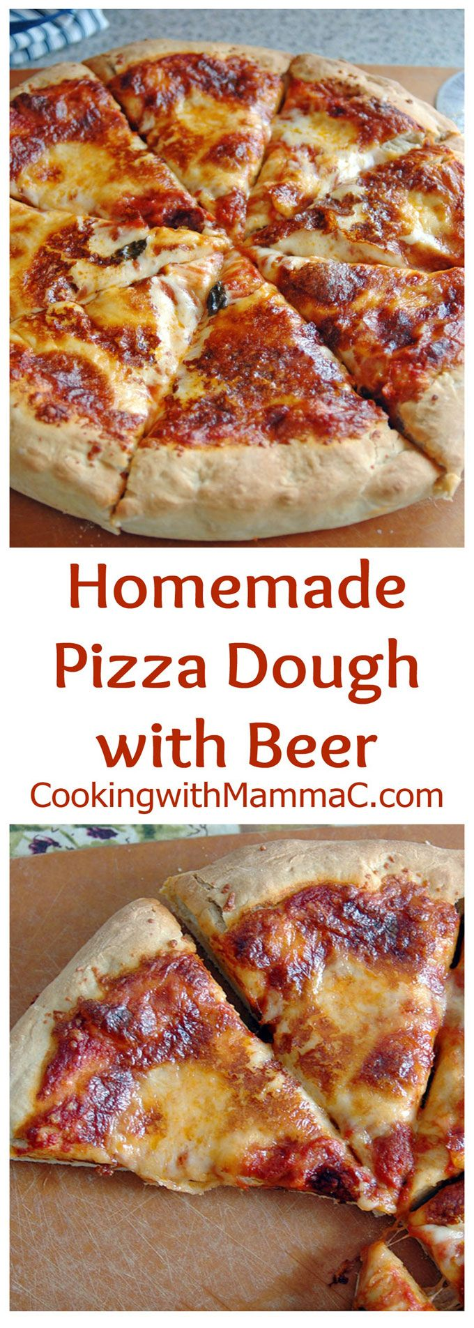 Homemade Pizza Dough with Beer - Just 5-10 minutes of kneading and one hour of rising will get you the most delicious dough!