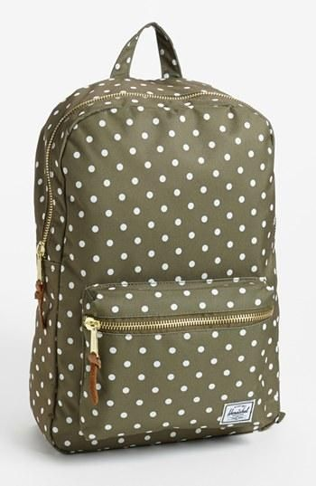 Summer carryall! Olive Herschel Polka Dot Backpack