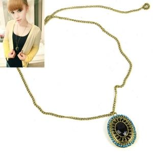 New Women's Fashion Vintage Retro Carving Gem Style Chain Necklace