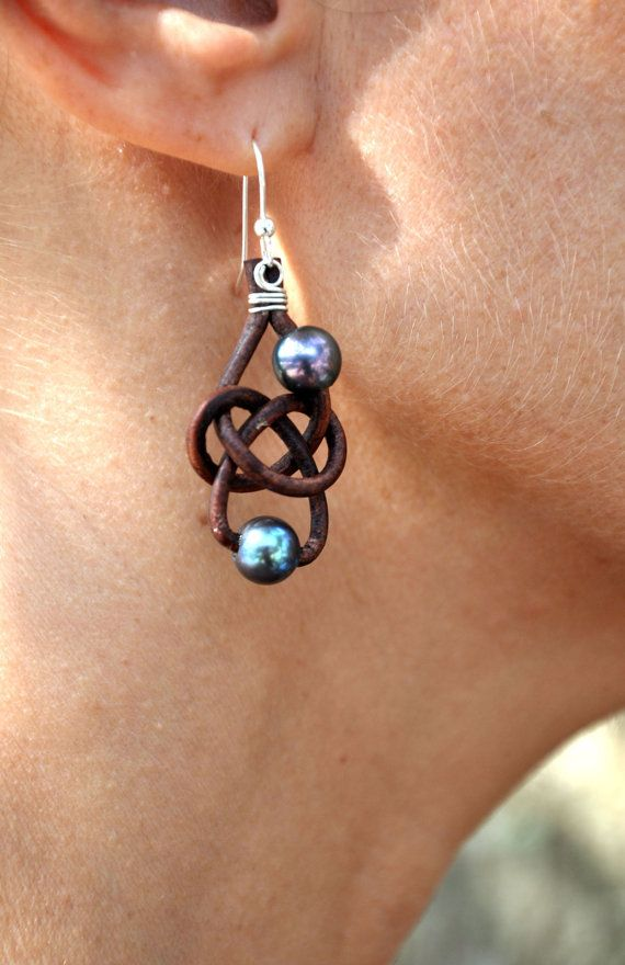 Freshwater Pearl and Leather Earrings