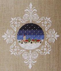 Love the way it is framed with motifs. Blu Cobalto - Village - Cross Stitch Pattern