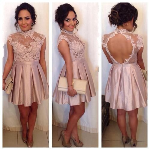 Floral Prom Dress,Lace Prom Dress,Backless Prom Dress,Fashion Homecomig
