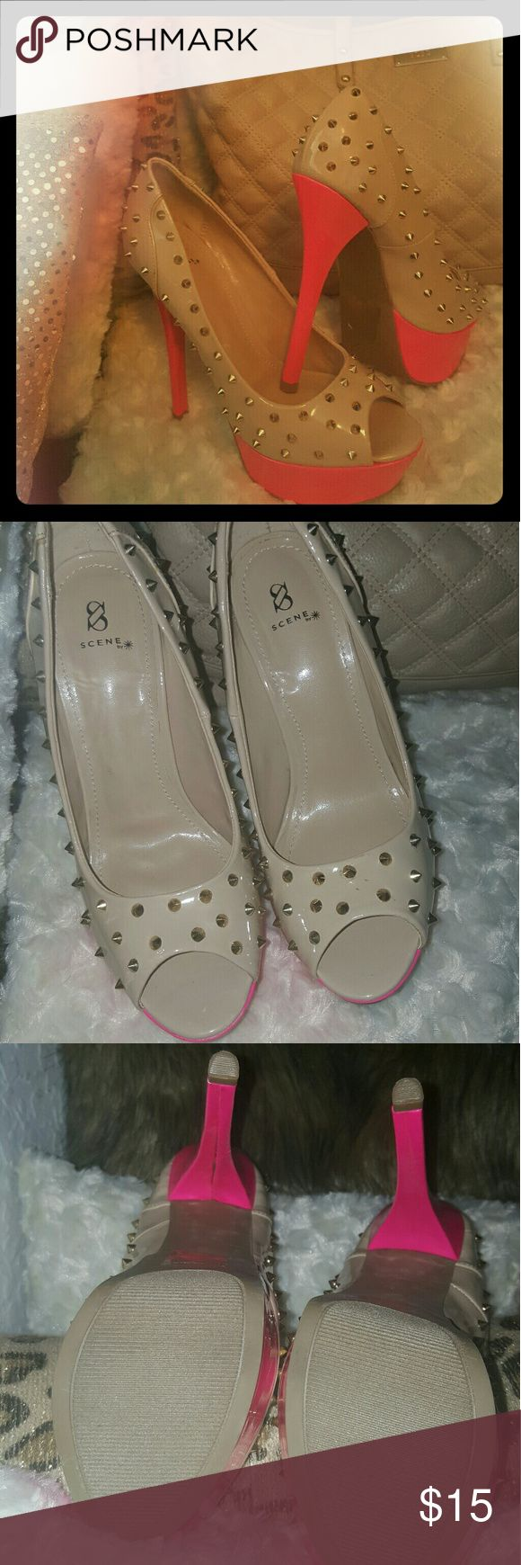 GOLD studded open toes  cream pumps Never worn before 6 inches pumps. Hot pink heel and platform. Has tiny scratches from just just sitting in the closet. Shoe Dazzle Shoes Heels