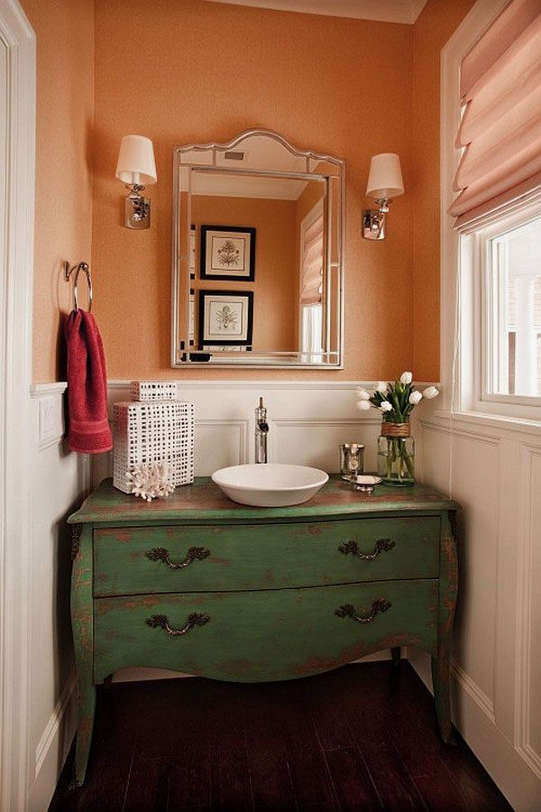 Powder room green peach bathrooms pinterest for Powder room vanities for small spaces