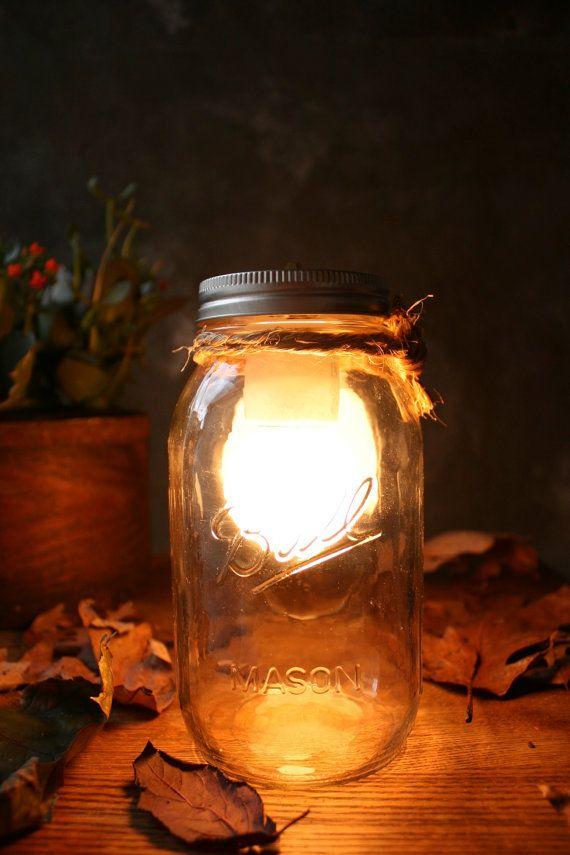 Mason Jar Lighting Glass Lamp Night Light or Desk Lamp - Minimalist Design by Luke Lamp Co.
