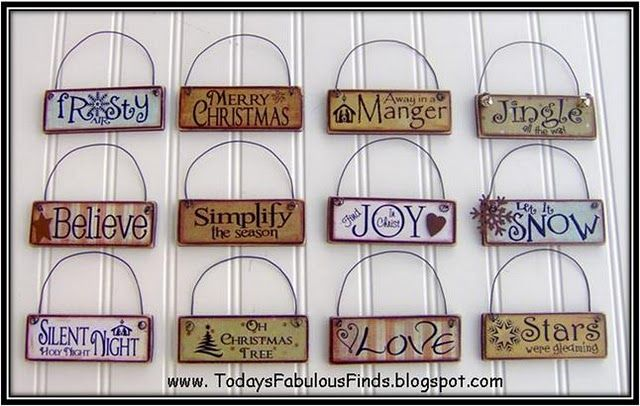 Paintsticks from the home improvement store, print sayings onto scrap paper, modgepodge on, add wire for hanging and embellish.