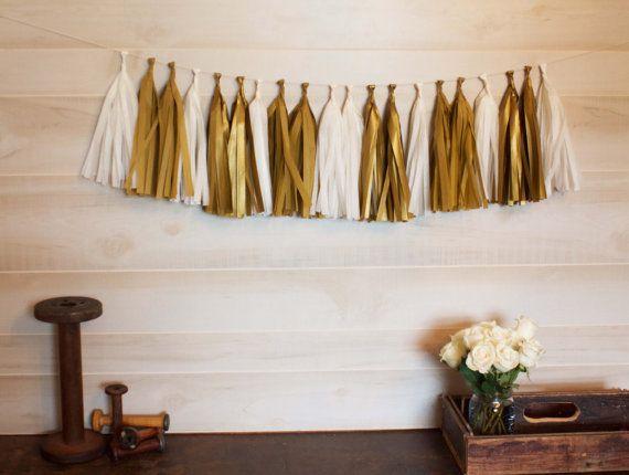 Golden Tassel Garland Tissue Paper Tassels Garland by shoppe3130
