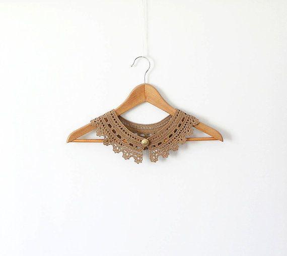 Cinnamon Lace Collar Camel Necklace Irish Style by callmemimi