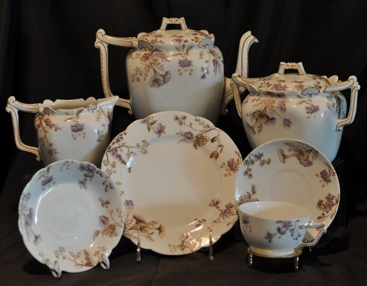 Very Rare T&V French China Limoges Hand Painted 29 Piece Tea Set and  Dessert/Luncheon