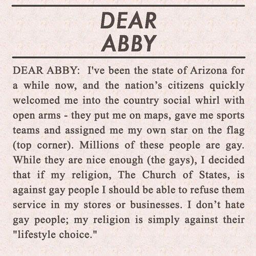 Arizona's Letter To 'Dear Abby'