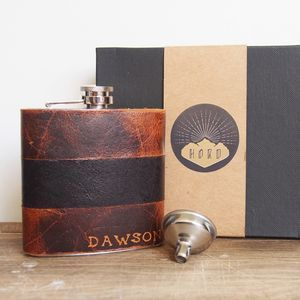 Personalised Leather Hip Flask - best man & usher gifts