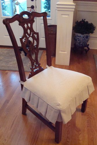 Dining Chair Slipcovers traditional Needed this, the kids have wrecked my chairs, they're a hot mess!!