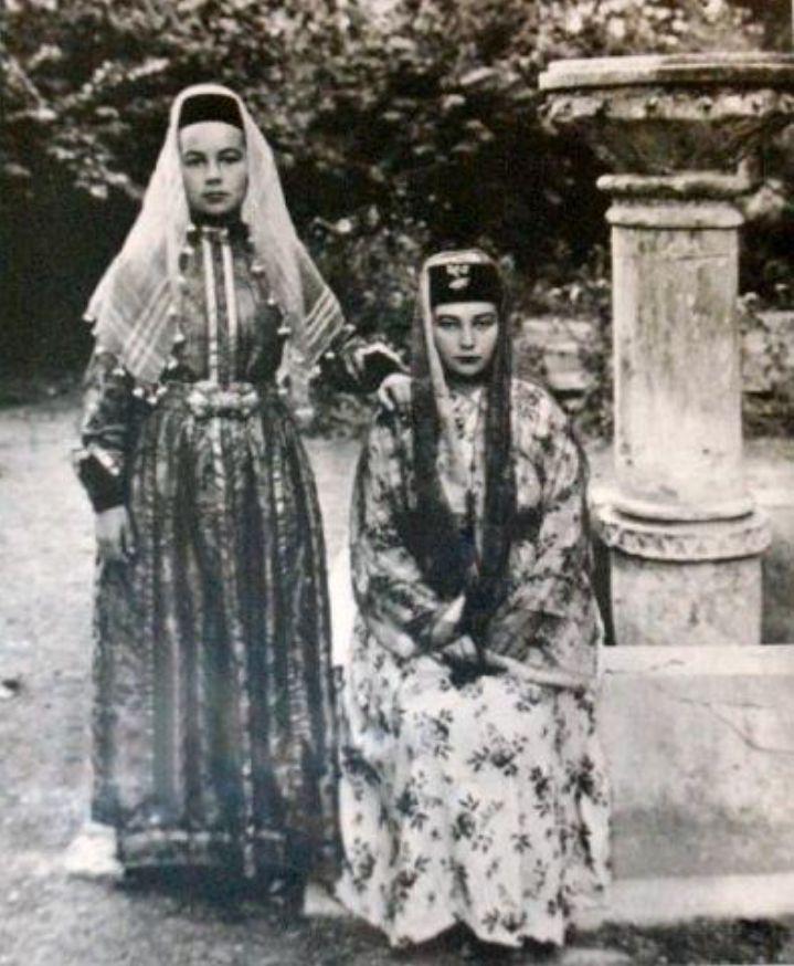 Crimean Tatar women in traditional dresses.