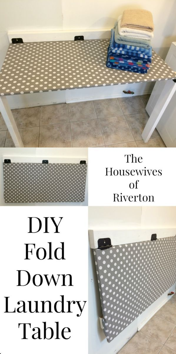 i would do a fold down that would go over laundry baskets this diy drop down laundry table is perfect for space saving functionality