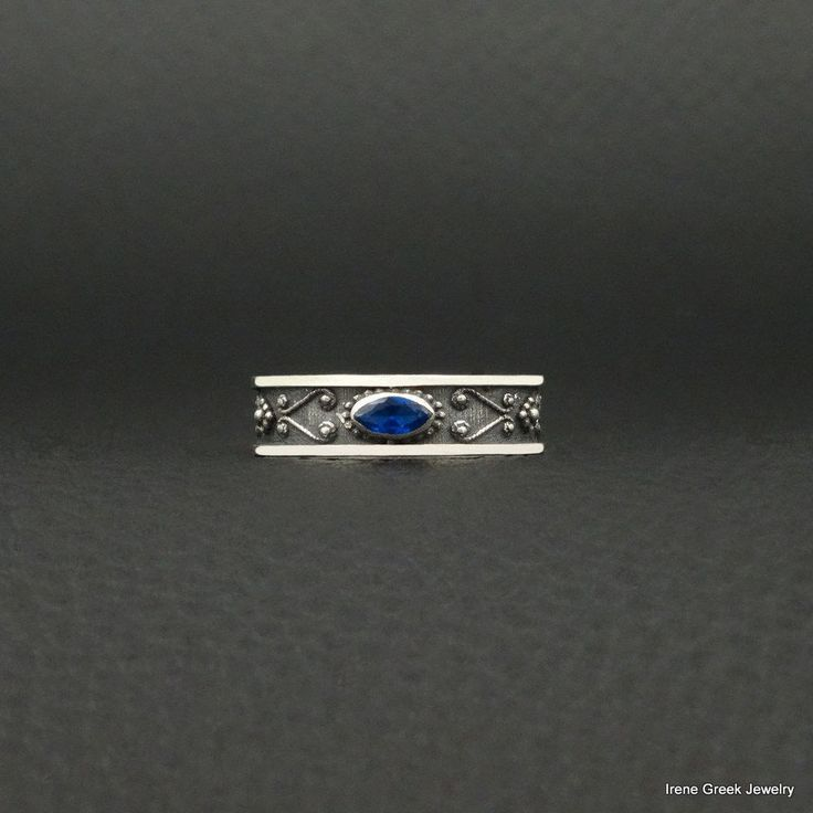 SAPPHIRE CZ BYZANTINE STYLE 925 STERLING SILVER GREEK HANDMADE ART EARRINGS #IreneGreekJewelry #Band