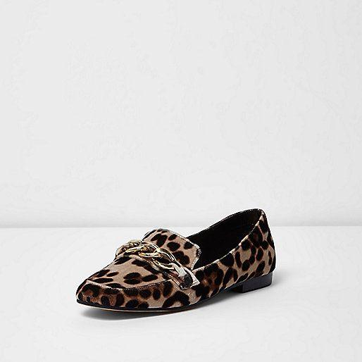 Beige loafers met luipaardprint en goudkleurige ketting - schoenen - schoenen / laarzen - dames