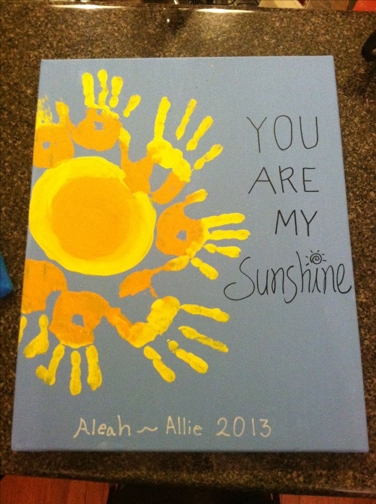 Handprint kids canvas! The girls loved doing this- good times :) they are my sunshine! #crafts #kids #artsupplies #schoolcrafts