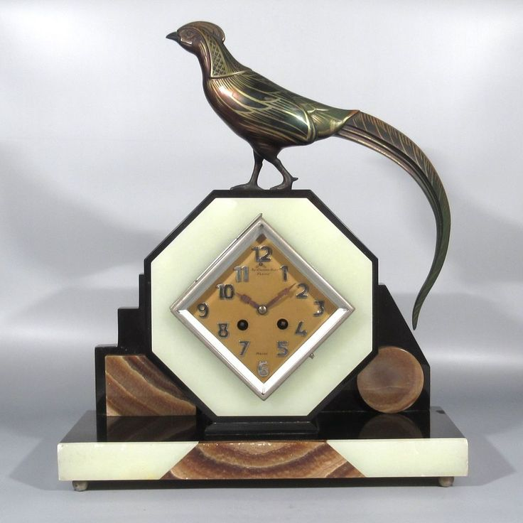 Vintage French Art Deco Marble Clock, Reims, Champagne, Pheasant, Bird #ArtDeco