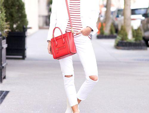 Białe jeansy z przetarciami na lato - z czym nosić, białe boyfriendy, jeans, stylizacje