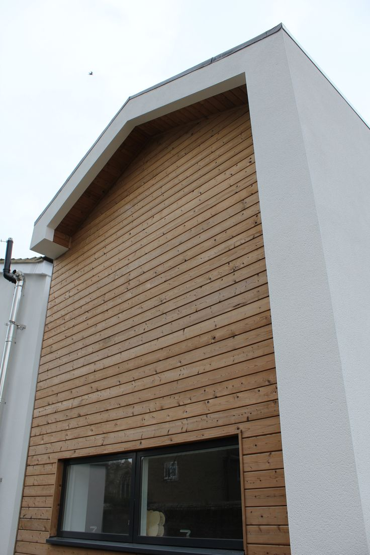 Residential Extension Gable End With Thermowood Timber Fa Ade And Velfac Windows By