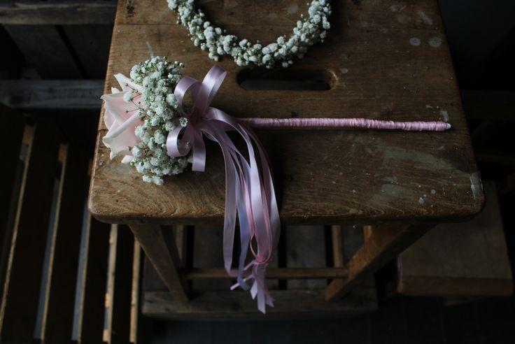 Flower Girl Rose & Gypsophila wand. www.theflowermilldraycott.co.uk