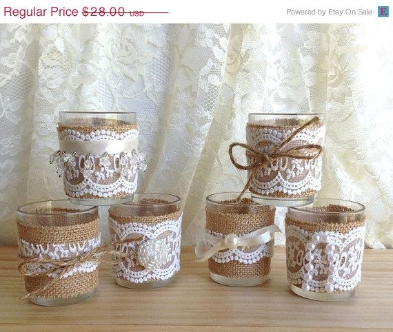 ON SALE burlap and lace 10 hour 6 tea candles, country chic  wedding decoration, bridal shower decor or home decor