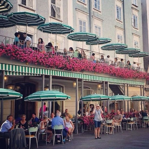 Cafe Tomaselli, Salzburg, Austria — by Fen. The pretty 300-year-old café!