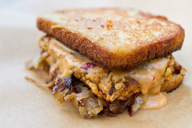"""... Patties, Chipotle """"Cheddar"""" Sauce, and Maple Caramelized Onions"""
