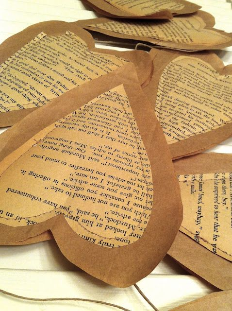Paper hearts made of old book pages.