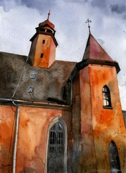 Church in Nowa Ruda, Poland. Watercolours on paper.