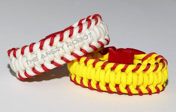 Softball Stitched Paracord Bracelet Yellow Red by theangryrobot