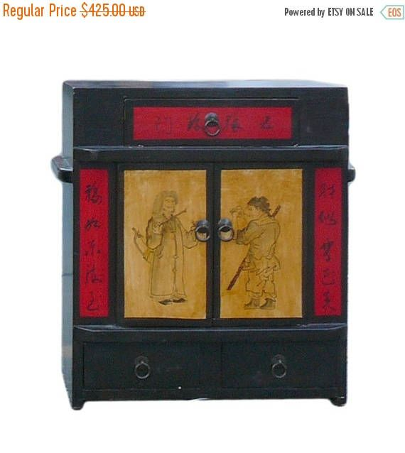 30%OFF SALE Chinese Black Oriental Scenery Small Wood Chest