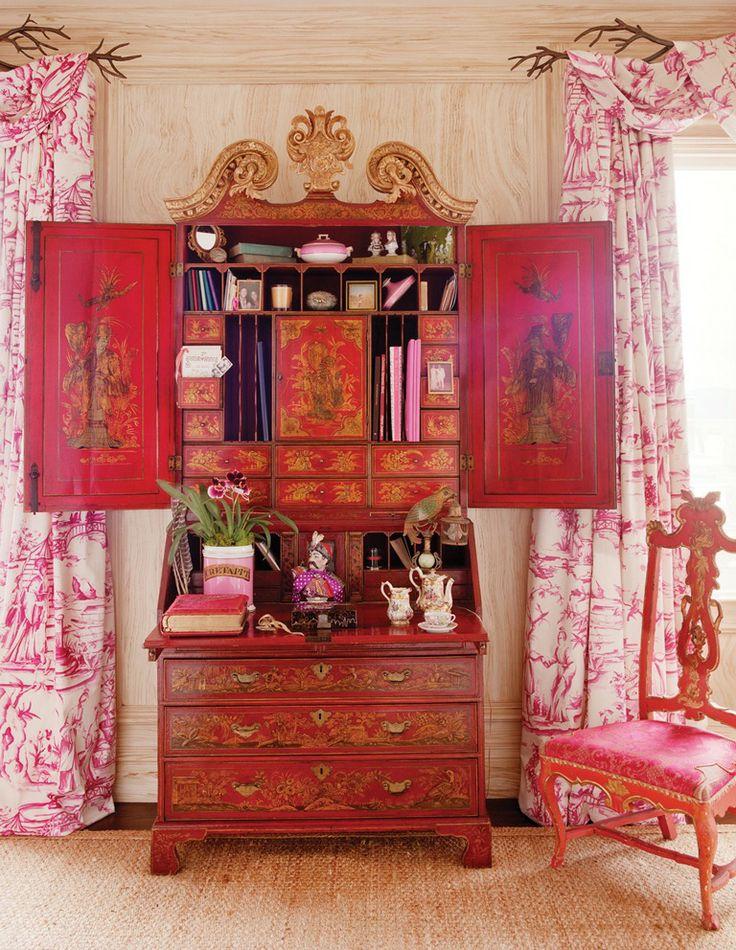 Ann Getty Interior Style - secretary, chair & toile drapes - Love it all!