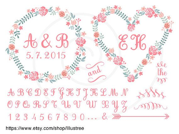 Floral frames and monogram initial wreath ABC digital by Illustree, $5.00  https://www.etsy.com/listing/184161305/floral-frames-and-monogram-initial?ref=shop_home_active_24
