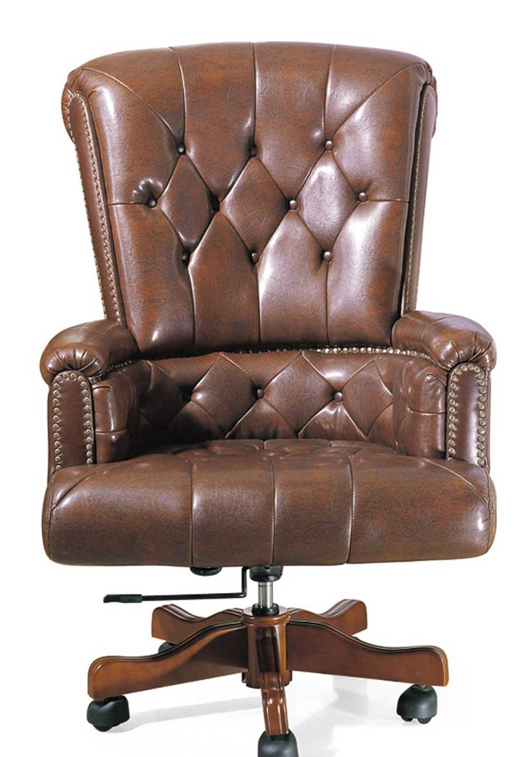 Delighful Brown Leather Wood Office Chair Not Necessarily This One But A Comfortable Rotating Inside Decorating Ideas