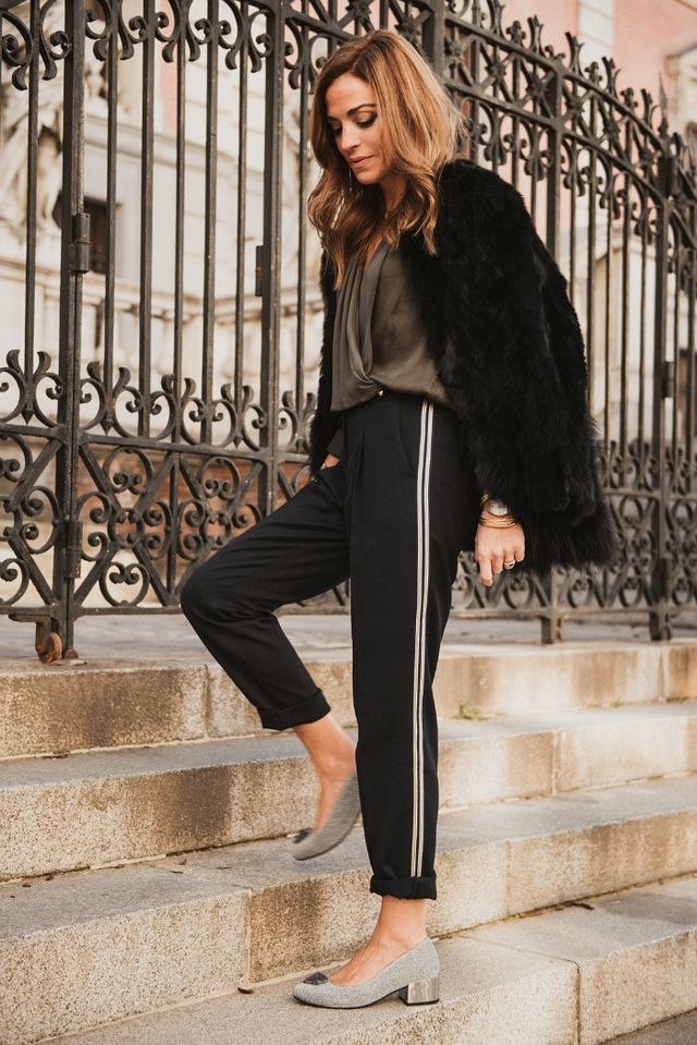 pantalon raya lateral y abrigo de pelo