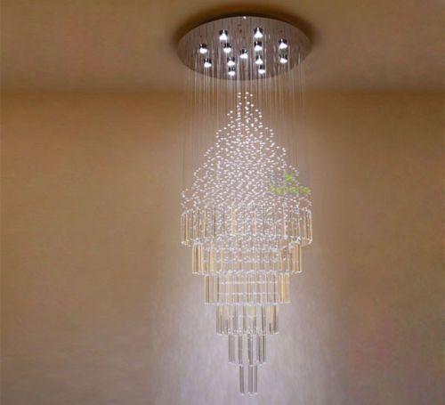 New Modern Glass Pendant Light Crystal Ceiling Lamp Raindrop Chandelier  Lighting