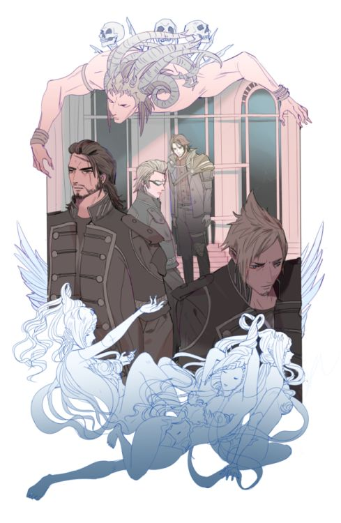 """Final Fantasy XV. """"Is that painting still here?"""" """"Doubt I could find it. I had my servant cover it up pretty well."""""""