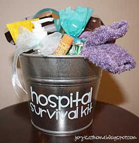 Hospital Survival Kit for a New Mother- -fuzzy socks (preferably ones with grippers), a mini spa/lotion kit, face wipes, chapstick (i've never given birth, but I hear it makes you have dry lips), a stand-up mirror, chocolate, mints, stretchy headbands, and hand sanitizer. And anthing else you want