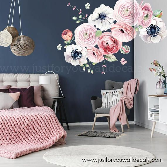 Large Flower Set Flower Wall Decal Floral Wall Decal Flower Wall