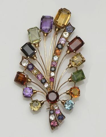 A vari gem-set spray brooch                                                                                                                                                                                 More